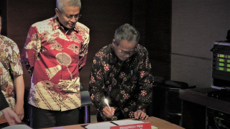 Penandatanganan MOU antara PP PBSI dengan Pengprov dan Pengacab PBSI Rabu (5/2) di Djakarta Theater Building, Jakarta.