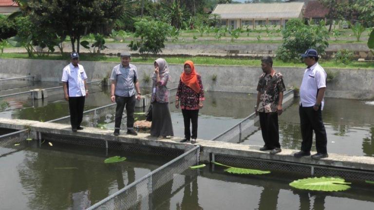 Kepala BRPI Sukamandi bersama robongan berkunjung ke BBI Pandak dan kelompok budi daya ikan Mina Usaha di Desa Karangsalam Kecamatan Kedungbanteng, Selasa (3/2).